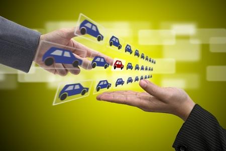 carro supermercado: Mano de negocios seleccione coche nuevo a representante de ventas con nuevo concepto de Inversión Inmobiliaria