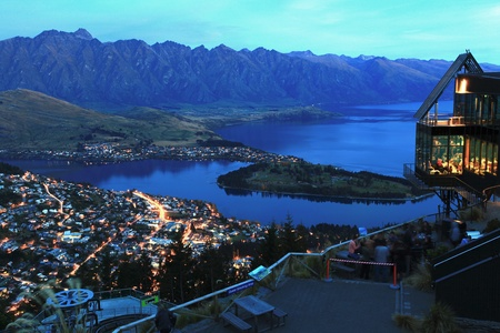 zealand: landscape of Queenstown City New Zealand at Night Stock Photo