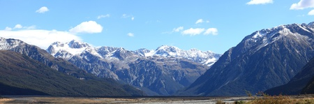 Panorama southern alpine alps mountain range Arthur's pass National Park New Zealand photo