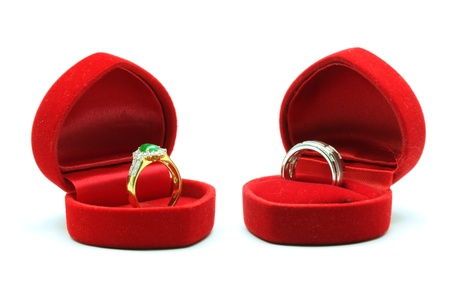 Couples Luxury Diamond Wedding Ring in Silk Velvet Box for Together Love in Valentine Holiday Concept photo