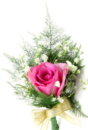 natural pink rose corsage, vertical Stock Photo - 12331787