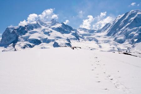 glacier: Landscape of Snow Mountain Range at Matterhorn Alps Alpine Region Switzerland