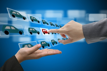 Business Man Hand touch Virtual Touch Screen Interface for New Car from Electronic Market Stock Photo - 12331820