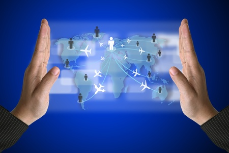 Business Hand with World Travelling concept on Technology Virtual Screen photo