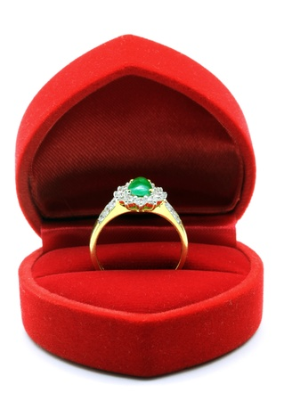 Luxury Diamond Jade Wedding Ring in Red Velvet Silk Box using for Engagement for Love in Valentine Holiday Concept photo