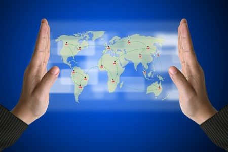 Business Hand with World Social Media Concept on Technology Virtual Screen photo