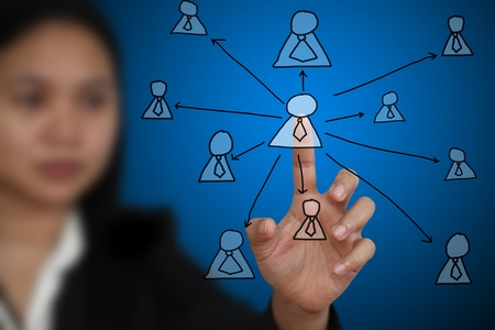 centralized: Business Woman touch on Key Person on Virtual Technology Screen using for Business decentralization concept
