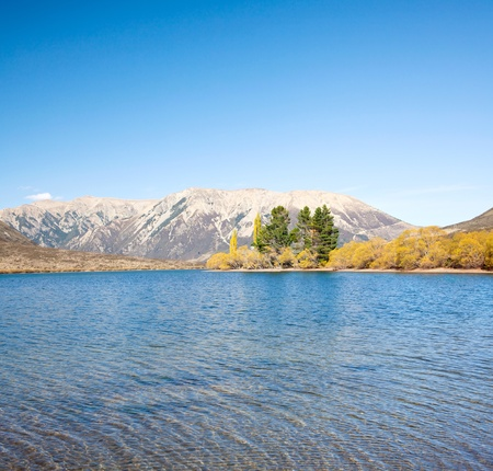 Landscape of mountain range at Lake Pearson Arthurs pass National Park New Zealand photo