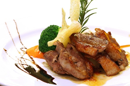 flavoured: Gourmet grilled Duck steak flavoured with broccoli basil and taco Stock Photo
