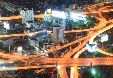 Closeup of highest Aerial view of Bangkok Highway at Dusk in Thailand photo