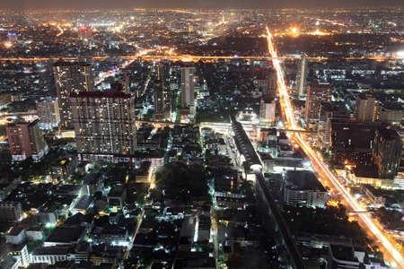 Cityscape of Bangkok Aerial View at Night in bangkok, Thailand Stock Photo - 12331970