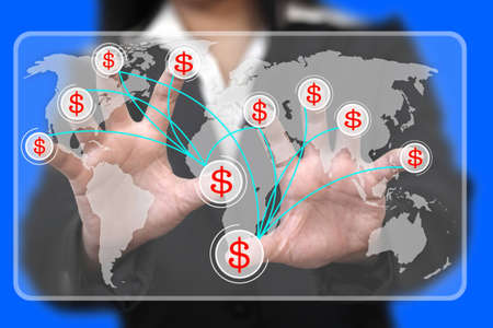 Business hand press on virtual screen interface for making money concept photo
