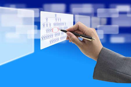 Business Hand Writing Job Rotation on organization Chart Diagram photo