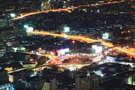 technoligy: aerial view of Bangkok Center at Victory monument cityscape at Night, Thailand Stock Photo