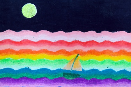 sail in sea and moon free hand drawing from color crayon techniques from young artist illustrated children are learning kind Stock Photo - 13060078