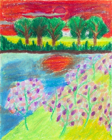 crayon drawing: tropical forest and blossom flower at sunset free hand drawing from color crayon techniques from young artist illustrated children are learning kind