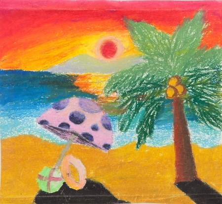 tropical beach chair and coconut at sunset free hand drawing from color crayon techniques from young artist illustrated children are learning kind Stock Photo - 13060077