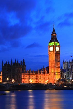 Big Ben and River Thames  International Landmark of London England United Kingdom at Dusk Stock Photo - 13226014
