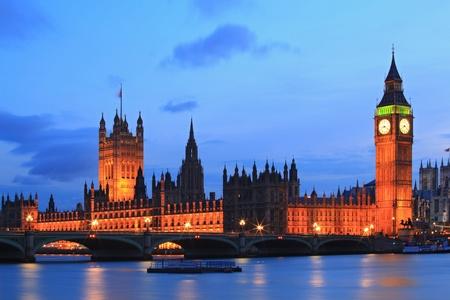 international landmark: Big Ben and House of Parliament at River Thames International Landmark of London England United Kingdom at Dusk Stock Photo