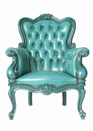 isolated Armchair light blue genuine leather classical style sofa photo