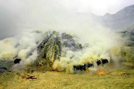 industrail: Landscape of Sulfur Mine at Khawa Ijen Volcano Crater Java Island Indonesia Stock Photo
