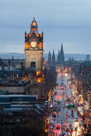 edinburgh: Edinburgh with Clock Tower from Calton Hill at dusk Scotland UK Editorial