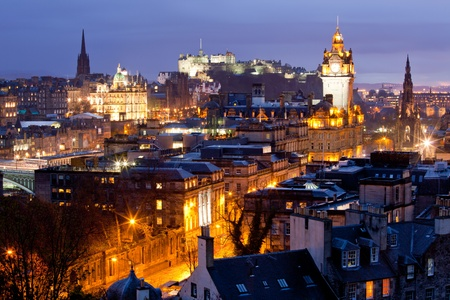 skylines: Edinburgh Skylines building and castle from Calton Hill at dusk Scotland UK Stock Photo