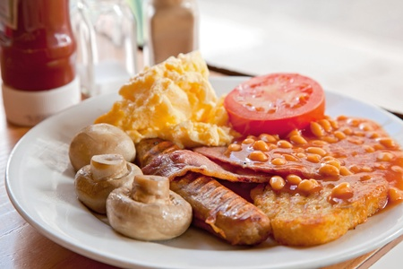 bacon baked beans: Full English Breakfast on Table