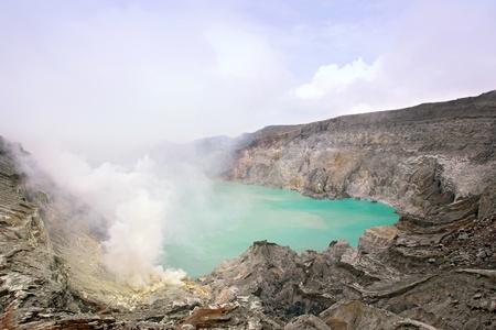 Crater of volcano Khava Ijen, Sulfur mine in Java Island Indonesia. photo