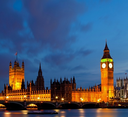 Panorama of Big Ben and House of Parliament at River Thames International Landmark of London England United Kingdom at Dusk photo