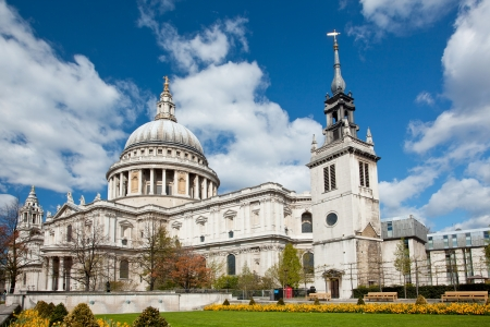 st: St  Paul Cathedral with garden in London England United Kingdom Stock Photo