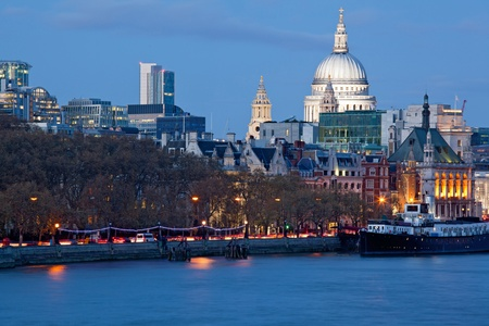 thames: St Pauls Cathedral in London at night with River Thames England UK Editorial