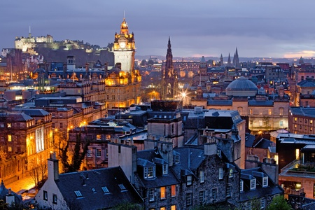 edinburgh: Edinburgh Cityscape and castle from Calton Hill at dusk Scotland UK