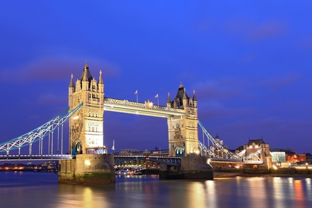 London River Thames and Tower Bridge International Landmark of England United Kingdom at Dusk photo