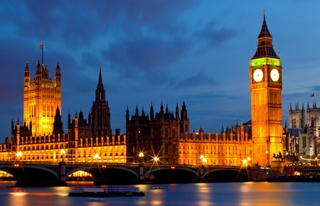 city of westminster: House of Parliament and Big Ben River Thames Landmark of London England United Kingdom at Dusk