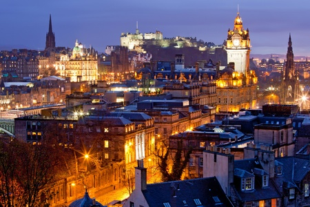 Edinburgh Skylines building and castle from Calton Hill at dusk Scotland UK photo
