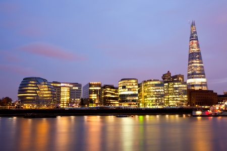 urban culture:  London City Hall Skylines along River Thames at Dusk, England UK