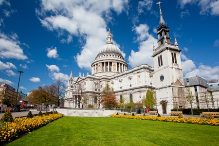 St. Paul Cathedral with garden in London England United Kingdom Stock Photo - 13405709