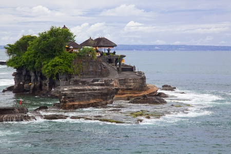 Tanah Lot Temple on Sea in Bali Island Indonesia photo
