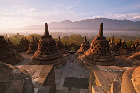 hindu god: Borobudur Temple Morning  Sunrise in Yogyakarta, Java, Indonesia.