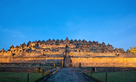 Borobudur Temple Morning before Sunrise with Star Trail in Yogyakarta, Java, Indonesia. Stock Photo - 13406138