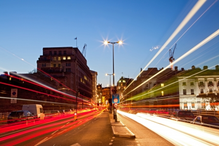light trail: London Cityscape with Road Light Trail at dusk using for City Lifestyle transportation
