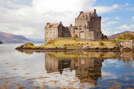 scottish: Closeup of Reflection of Eilean Donan Castle, Highland Scotland.