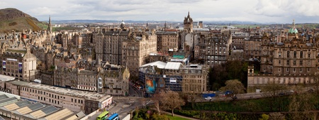 Panorama of Edinburgh Skylines building Scotland UK