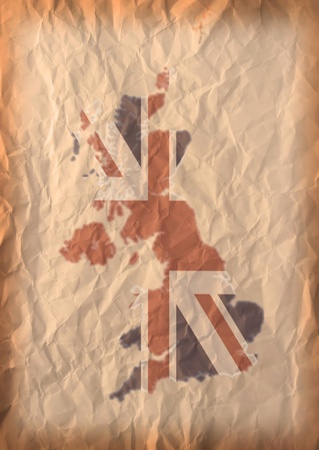 UK Map with flag on recycle vintage paper craft Stock Photo - 13554164