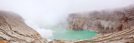 Panorama Crater of volcano Khava Ijen, Sulfur mine in Java Island Indonesia. photo
