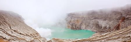 Panorama Crater of volcano Khava Ijen, Sulfur mine in Java Island Indonesia. photo