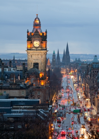 Edinburgh with Clock Tower from Calton Hill at dusk Scotland UK photo