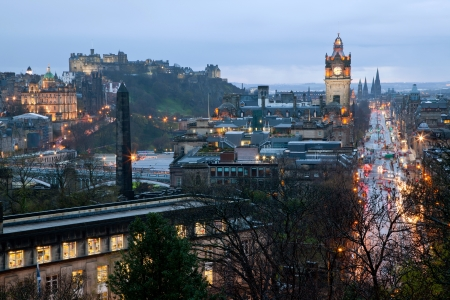 Princess Street Edinburgh Scotland at Dusk photo