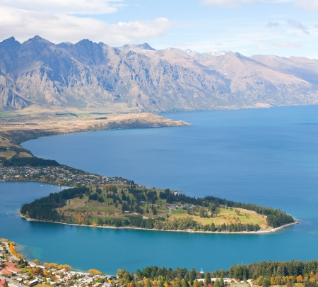 Landscape of Queenstown with lake Wakatipu from Bobs Peak New Zealand photo